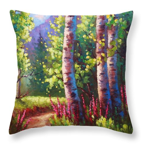 Aspen Throw Pillow featuring the painting Spring Path by David G Paul
