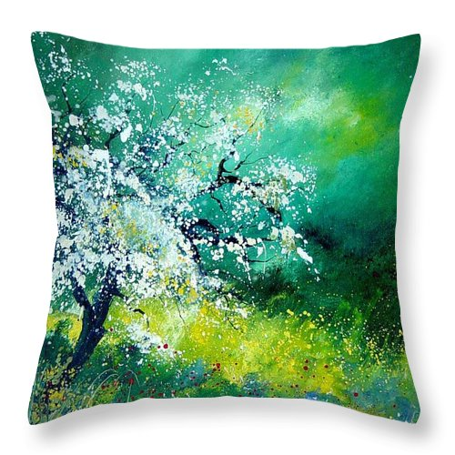 Flowers Throw Pillow featuring the painting Spring by Pol Ledent