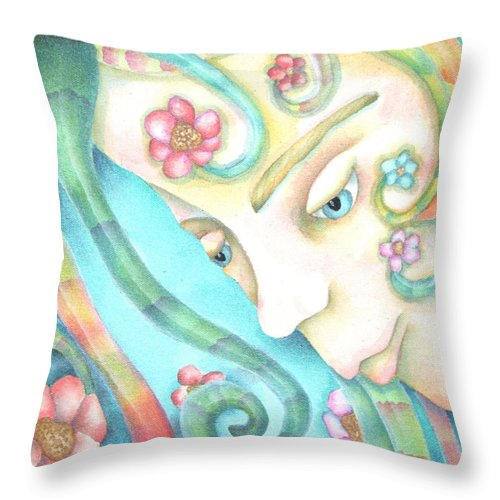 Throw Pillow featuring the painting Sprite Of Giving Hearts by Jeniffer Stapher-Thomas
