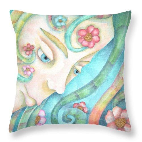 Sprite Throw Pillow featuring the painting Sprite Of Kind Thoughts by Jeniffer Stapher-Thomas