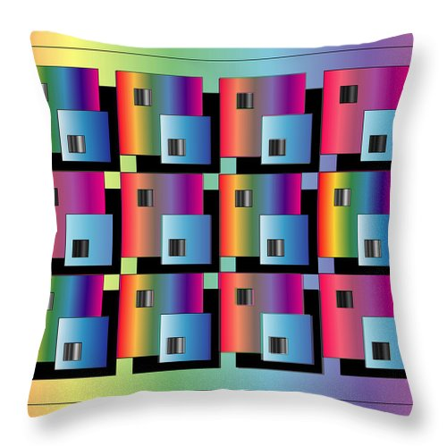 Abstract Throw Pillow featuring the digital art Squares by George Pasini