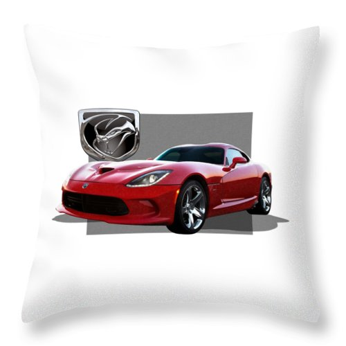 'dodge Viper' By Serge Averbukh Throw Pillow featuring the photograph S R T Viper with 3 D Badge by Serge Averbukh