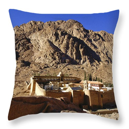 Egypt Throw Pillow featuring the photograph St. Catherine's Monastery by Michele Burgess