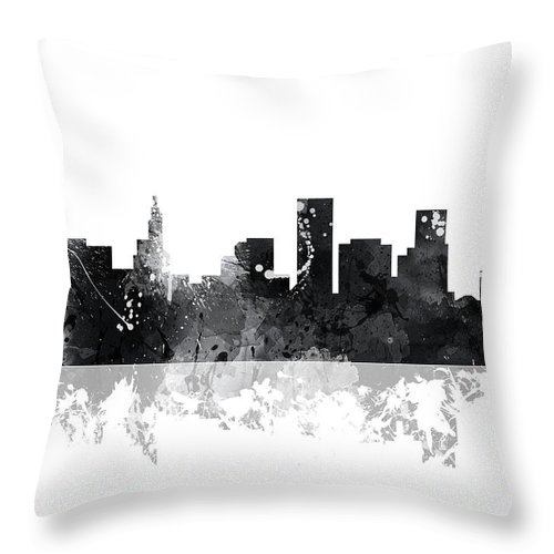 St Paul Minnesota Skyline Throw Pillow featuring the digital art St Paul Minnesota Skyline by Marlene Watson