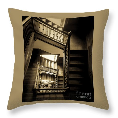 Swannanoa Mansion Throw Pillow featuring the photograph Staircase In Swannanoa Mansion by Jennifer Mitchell