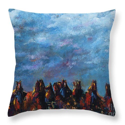 Horses Throw Pillow featuring the painting Stampede by Frances Marino