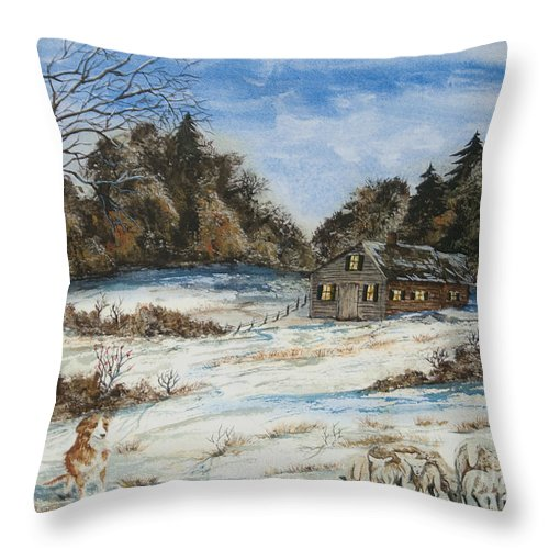 Dog Throw Pillow featuring the painting Standing Guard by Charlotte Blanchard