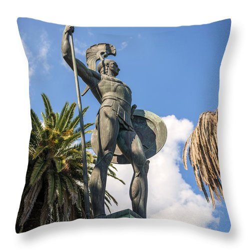 Statue Of Achilles In Corfu Greece Throw Pillow For Sale By Eduardo Huelin