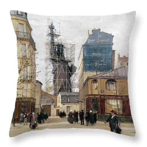 1884 Throw Pillow featuring the photograph Statue Of Liberty, C1884 by Granger