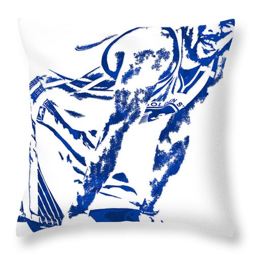 Stephen Curry Throw Pillow featuring the mixed media Stephen Curry Golden State Warriors Pixel Art 4 by Joe Hamilton