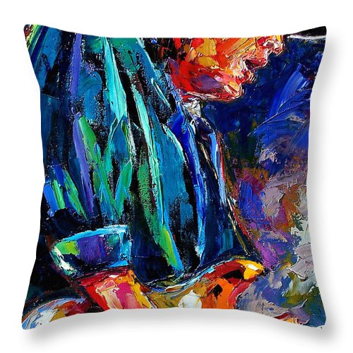 Stevie Ray Vaughan Throw Pillow featuring the painting Stevie Ray Vaughan by Debra Hurd