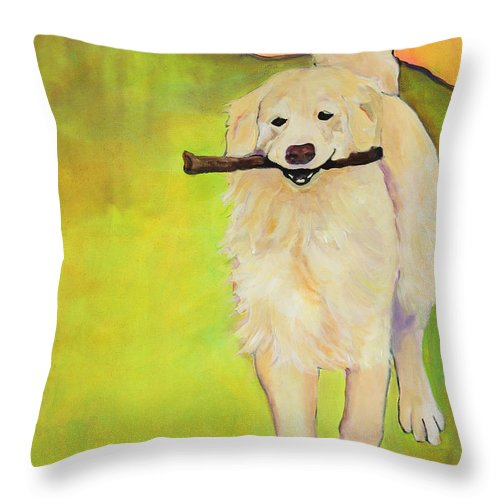 Dog Portraits Throw Pillow featuring the painting Stick Together by Pat Saunders-White