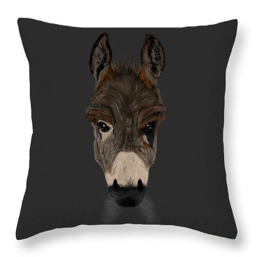 Donkey Throw Pillow featuring the painting Still A Badass by Dan Pearce