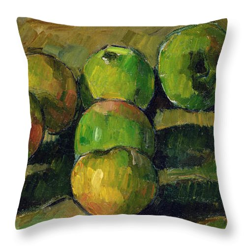 Still Throw Pillow featuring the painting Still Life With Apples by Paul Cezanne