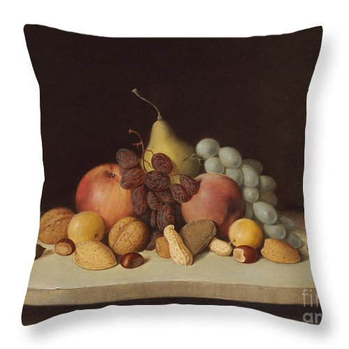 Throw Pillow featuring the painting Still Life With Fruit And Nuts by Robert Seldon Duncanson
