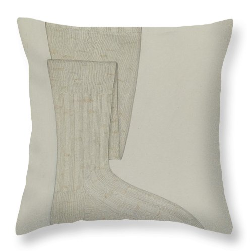 Throw Pillow featuring the drawing Stockings by Sylvia De Zon