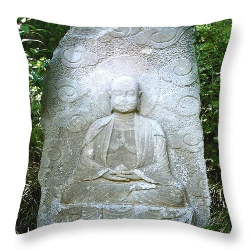 Stone Throw Pillow featuring the photograph Stone Buddha by Dean Triolo
