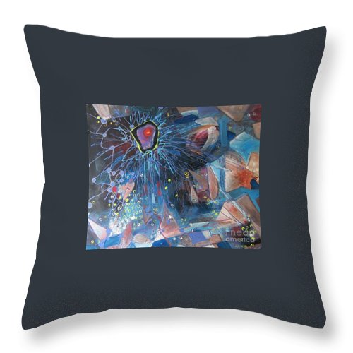 Abstract Paintings Throw Pillow featuring the painting Storm At Sea by Seon-Jeong Kim
