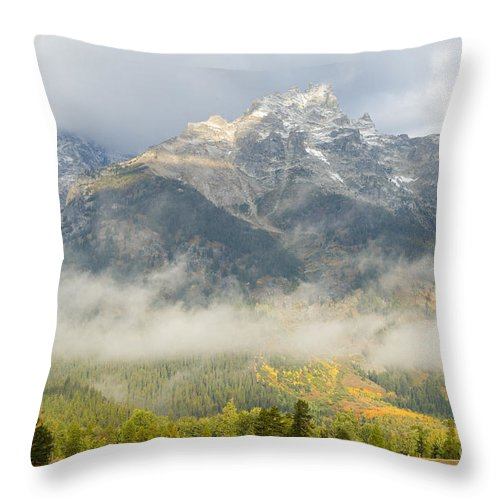 Grand Teton National Park Throw Pillow featuring the photograph Storm On Grand Teton by Sandra Bronstein