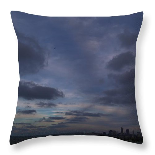 Destination Throw Pillow featuring the photograph Storm Over Cleveland by Douglas Sacha