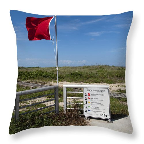 Storm Throw Pillow featuring the photograph Storm Warning On The Atlantic Ocean In Florida by Allan Hughes