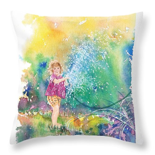 Children Throw Pillow featuring the painting Summer Fun by Gale Cochran-Smith