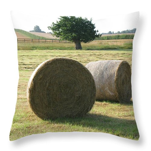 Haybales Throw Pillow featuring the photograph Summer by Maria Joy
