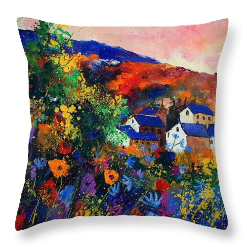 Landscape Throw Pillow featuring the painting Summer by Pol Ledent
