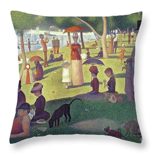 Sunday Afternoon On The Island Of La Grande Jatte Throw Pillow featuring the painting Sunday Afternoon on the Island of La Grande Jatte by Georges Pierre Seurat