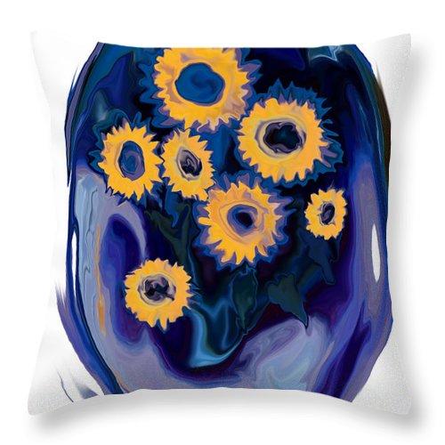 Art Throw Pillow featuring the digital art Sunflower 1 by Rabi Khan