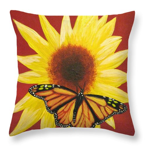 Sunflower Throw Pillow featuring the painting Sunflower Monarch by Debbie Levene