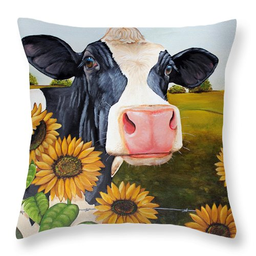 Cow Throw Pillow featuring the painting Sunflower Sally by Laura Carey