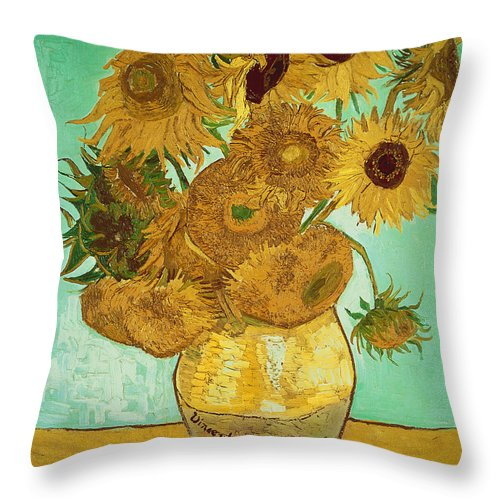 Sunflowers Throw Pillow featuring the painting Sunflowers By Van Gogh by Vincent Van Gogh