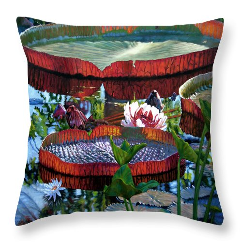 Water Lilies Throw Pillow featuring the painting Sunlight Shining Through by John Lautermilch