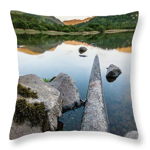 Landscape Throw Pillow featuring the photograph Sunrise at Ullswater, Lake District, North West England by Anthony Lawlor