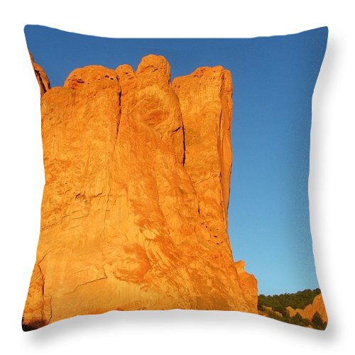 Sunrise Throw Pillow featuring the photograph Sunrise In Garden Of The Gods by Bob W Brown