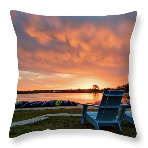 Traverse City Throw Pillow featuring the photograph Sunrise by Lori Douthat