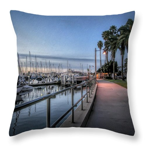 Sunrise Throw Pillow featuring the photograph Sunrise Over Santa Barbara Marina by Tom Mc Nemar
