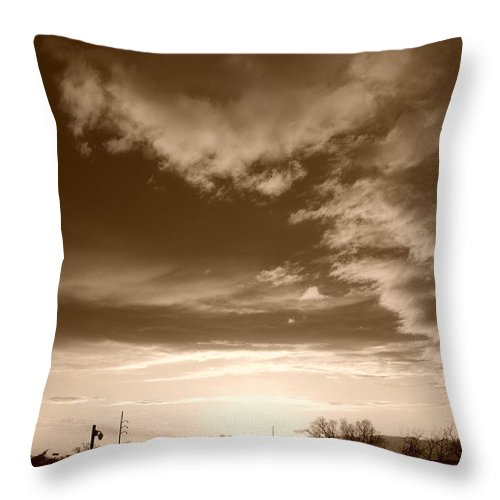 Sunset Throw Pillow featuring the photograph Sunset And Clouds by Rob Hans