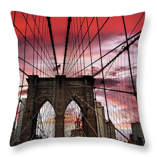 Brooklyn Bridge Throw Pillow featuring the photograph Sunset Gothic by Jessica Jenney