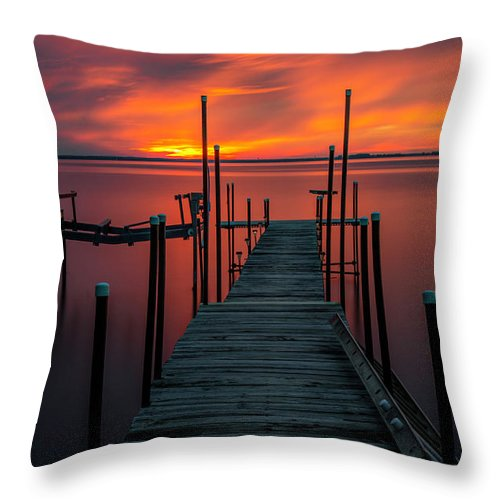 Sunset Throw Pillow featuring the photograph Sunset On The Bay by Randy Kostichka