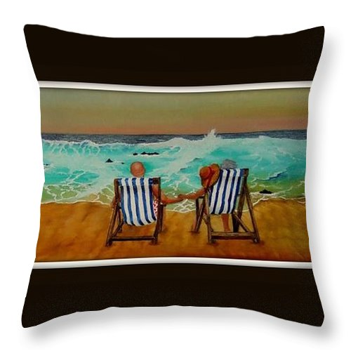 Sunset Throw Pillow featuring the painting Sunset Swansong by Jane Simpson