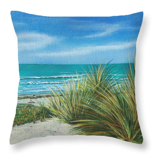 Sea Grass Throw Pillow featuring the painting Surf Beach by Angie Hamlin