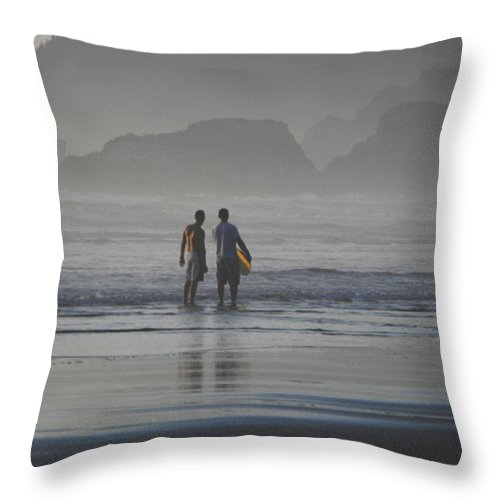 Beach Throw Pillow featuring the photograph Surf Pals by Catherine Sprague
