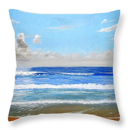 Surf Throw Pillow featuring the painting Surfside Morning by Keith Wilkie