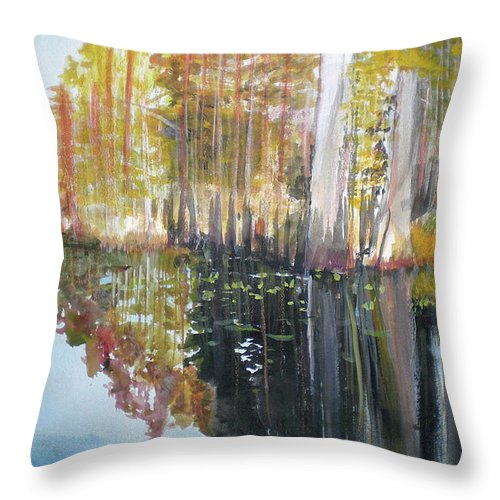 Landscape Of A South Florida Swamp At Dusk Feels Very Wild Throw Pillow featuring the painting Swamp Reflection by Hal Newhouser
