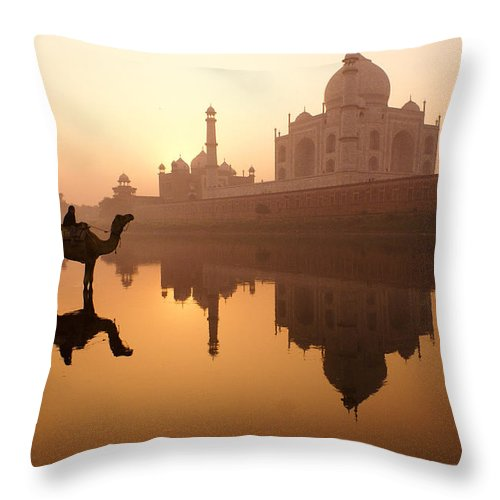 Sunrise Throw Pillow featuring the photograph Taj Mahal At Sunrise by Michele Burgess