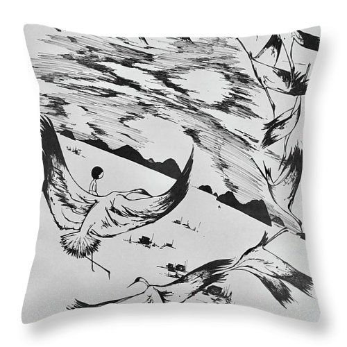 Crane Throw Pillow featuring the drawing Talking To The Moon by Leilei Mo