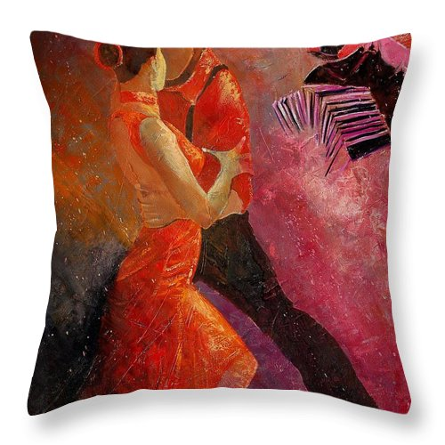Tango Throw Pillow featuring the painting Tango 1 by Pol Ledent