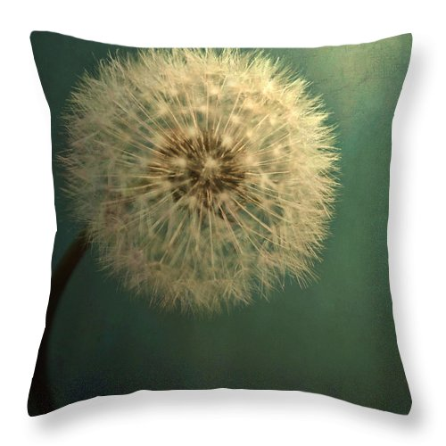 Throw Pillow featuring the photograph Teal Dandelion by Sylvia Coomes